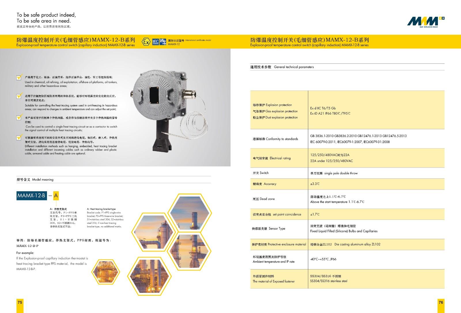 防爆温度控制开关(毛细管) MAMX-12-C2-系列